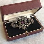 Серебряная брошь с алмазами, 48 шт, фото №12