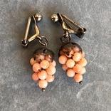 Серебряные клипсы «Виноград» с кораллом, Италия, фото №4