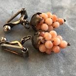 Серебряные клипсы «Виноград» с кораллом, Италия, фото №7