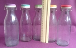 Бутылки молочные с крышками.  Стекло., фото №3