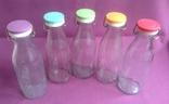 Бутылки молочные с крышками.  Стекло., фото №4