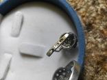 Серебряный комплект кольцо и серьги с камнями, фото №4