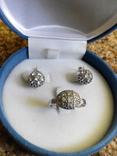 Серебряный комплект кольцо и серьги с камнями, фото №8