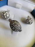 Серебряный комплект кольцо и серьги с камнями, фото №10