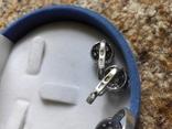 Серебряный комплект кольцо и серьги с камнями, фото №11