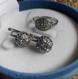 Серебряный комплект кольцо и серьги с камнями, фото №13