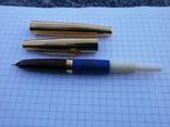 Ручки 2шт.АР806.8 (золотое перо) и ручка шариковая 1500 лет Киеву.Обе ручки позолоченные., фото №6