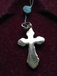 Золотой крест крестик Золотий хрест хрестик кулон з пробою, фото №3