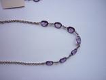 Набор - ожерелье и серьги с аметистами серебро 925 проба аметист, фото №3