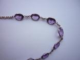 Набор - ожерелье и серьги с аметистами серебро 925 проба аметист, фото №7