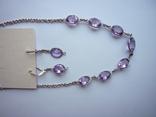 Набор - ожерелье и серьги с аметистами серебро 925 проба аметист, фото №10