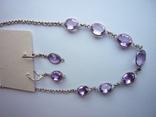Набор - ожерелье и серьги с аметистами серебро 925 проба аметист, фото №11