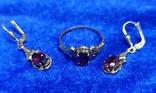 Комплект кольцо и серьги  золото. гранаты., фото №2
