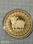 100 рублей 2011 Козерог Беларусь золото 15,5 гр. 900, фото №4