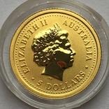5 долларов 2007 года. Год Свиньи. 1/20 унции, фото №3