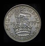 Великобритания шиллинг 1939 Unc серебро, фото №2