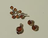 Винтажные серебряные сережки, кулон и брошь во вставками янтарного цвета, фото №2