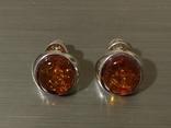Винтажные серебряные сережки, кулон и брошь во вставками янтарного цвета, фото №6
