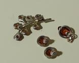 Винтажные серебряные сережки, кулон и брошь во вставками янтарного цвета, фото №7