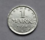 1 марка 1924 г. Монетный двор G, серебро, фото №3