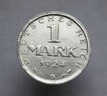 1 марка 1924 г. Монетный двор G, серебро, фото №4