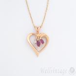 Винтажная подвеска-сердце с рубинами и бриллиантом, фото №2