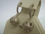Серебряные Серьги Сережки Английская Застежка Крупные Подвески Сфера Шар 925 проба 030