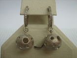Серебряные Серьги Сережки Английская Застежка Крупные Подвески Сфера Шар 925 проба 030 фото 2