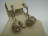 Серебряные Серьги Сережки Английская Застежка Крупные Подвески Сфера Шар 925 проба 030 фото 3