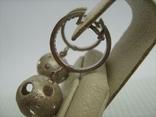 Серебряные Серьги Сережки Английская Застежка Крупные Подвески Сфера Шар 925 проба 030 фото 4