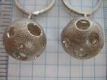 Серебряные Серьги Сережки Английская Застежка Крупные Подвески Сфера Шар 925 проба 030 фото 6