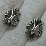 Серебряные Серьги Сережки Английская Застежка Замок 925 проба Серебро 065