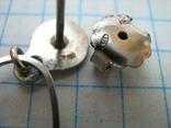 Серебряные Серьги Сережки Пусет Пуссет Гвоздики Длинные Свисающие 925 проба Серебро 077 фото 4