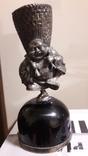 Серябряная фигурка китайского крестьянина закрепленная на черном агате., фото №2