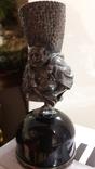 Серябряная фигурка китайского крестьянина закрепленная на черном агате., фото №4