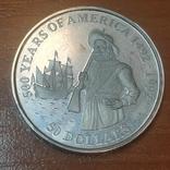"""Острова Кука 50 долларов 1992 г.""""500 лет открытия Америки"""", фото №2"""