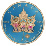 Канада 5 долларов 2019 год.Канадский лист. День семьи 3Д. 1 унция серебра.Тираж 500 шт., фото №3