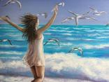 Картина, На крыльях счастья, 50х60 см. Живопись на холсте, фото №9