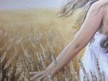Картина, Стигле колосся, 60х50см. Живопис на полотні, фото №5