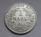 1 марка 1907 г. (G) Германия, серебро, фото №2