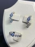 Серьги и кольцо с сапфирами и бриллиантами, фото №2