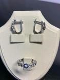 Серьги и кольцо с сапфирами и бриллиантами, фото №8