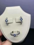Серьги и кольцо с сапфирами и бриллиантами, фото №3