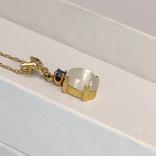 Винтажная золотая подвеска с натуральным лунным камнем и танзанитом, фото №6