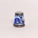 Винтажный серебряный наперсток с эмалями, фото №2