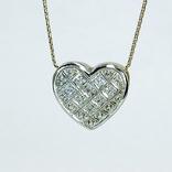 "Винтажная золотая подвеска ""сердце"" с бриллиантами, фото №4"