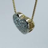 "Винтажная золотая подвеска ""сердце"" с бриллиантами, фото №5"