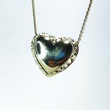 "Винтажная золотая подвеска ""сердце"" с бриллиантами, фото №6"