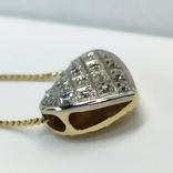 "Винтажная золотая подвеска ""сердце"" с бриллиантами, фото №7"
