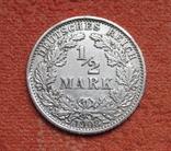 1/2 марки 1908 г. (А) Германия, серебро, фото №2